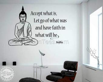 Buddha Inspirational Wall Sticker Quote, Accept What Is, Yoga Home Wall Art Decal
