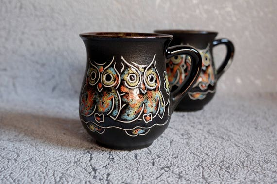 Sister gift Black ceramic mugs Owl Set of 2 cups Coffee cups Tea mugs Gift for women Beautiful gift Bridesmaid gift Pottery cup