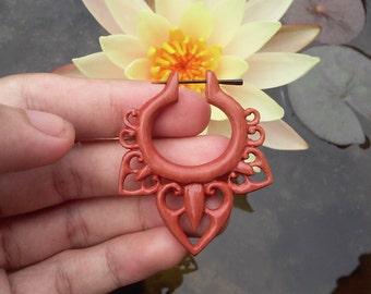 "Post stick earrings, ""Tribal Flower"", 18g earrings, tribal earrings, wooden stick post earrings, hand carved earrings, fake gauge earrings."