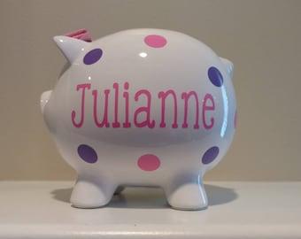 Personalized Piggy Bank.Custom Piggy Bank.Baby Shower Gift.Piggy Bank.Girl Piggy Bank.Boy Piggy Bank.Girl Bank.Lavender and Pink Piggy Bank