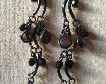Black and brown dangle earrings