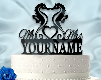 Seahorse Love Personalized Wedding Cake Topper