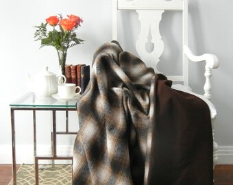 Brown Plaid Cabin Style Wool Throw Blanket