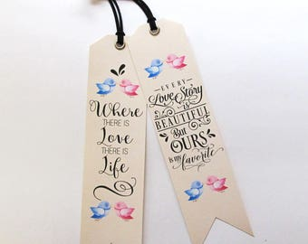 Unique Bookmarks with love quotes Gift ideas for book lovers Bookworms gift Handmade Bookmarks printed on canvas Mother's day gift, bookmark