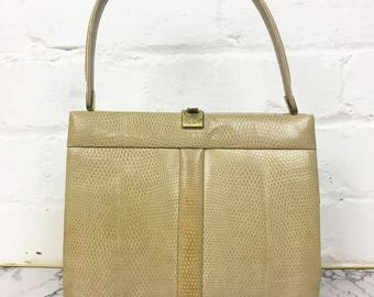 Rare 1940's 1950's FASSBENDER Vintage Cream Leather Designer Lizard Skin Kelly Bag. Made in England