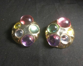 Vintage Bubble Multi Colored Funky Clip On Earrings