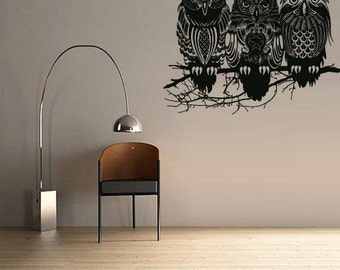 rvz2382 Wall Decal Decal Sticker Cute Detailed Owl Birds Forest Animals Bedroom