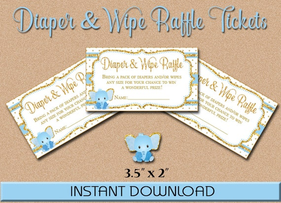 diaper  u0026 wipe raffle tickets blue and gold elephant baby