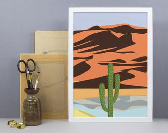 Cactus In the Desert Print - A3 A4 Size - Cactus Wall Art - America Desert Poster - Modern Illustration Print - Graphic Art - Cacti & Sand
