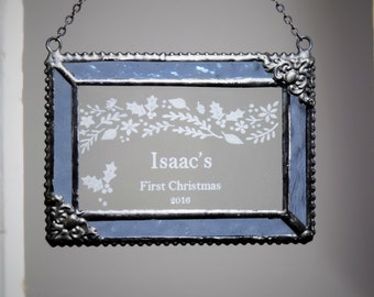 Personalized Baby 1st Christmas Ornament Stained Glass Boy Or Girl - Orn 263 EO 101