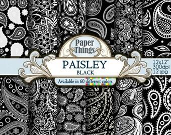 Black Paisley Digital Paper, Black Scrapbook Paper, Black Paper Set, Paisley White and Black Digital Background, Patterns Instant Download