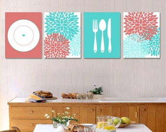 Dining Room Print Set   Silverware, Plate, Flowers   CORAL And TEAL Wall Art