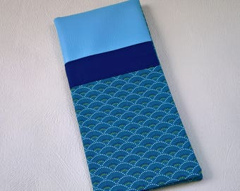 Protects family faux blue leather book