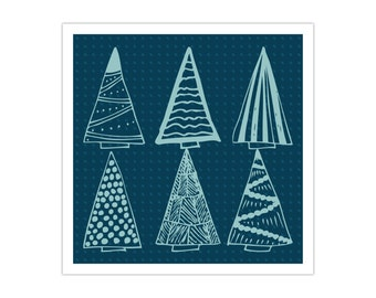 Blue Christmas Trees Poster