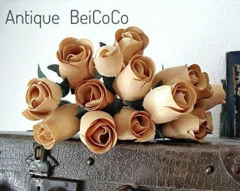 RARE antique roses bouquet flowers made of wood