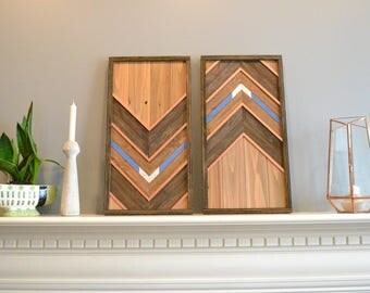 Wood wall art, double panel, brown/natural/copper/blue/silver, decor, lath, cedar, each panel 12in x 24in