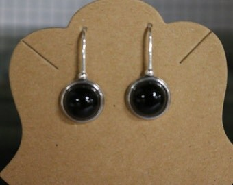 BLACK ONYX EARRINGS - Dangle - Sterling Silver - Handcrafted - usa Free Shipping