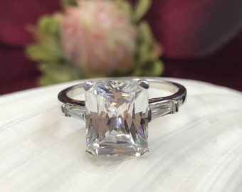 4.00 CTW Radiant Cut Engagement/Wedding/Anniversary/Promise Solitaire Ring 14K White Gold + FREE Gift Item #4551