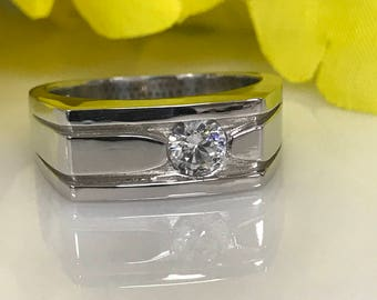 Gents Moissanite Forever One .50ct Round Brilliant Ring set in  14k White Gold  #4983