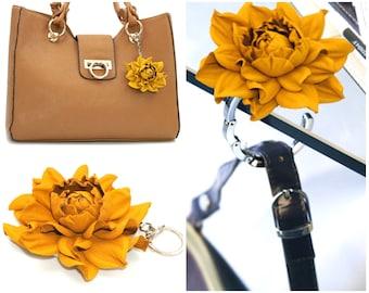 2 in 1 : Tabletop Purse HANGER + Flower BAG CHARM   Real Leather Dark Yellow Rose Handbag Charm & Folding Table Purse Hook, silver keychain