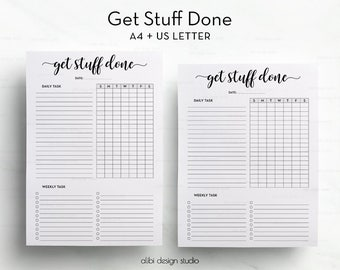 Get Stuff Done, Printable Planner, A4 Printable, Task Tracker, Weekly Checklist, Habit Tracker, A4 Inserts, Task Checklist, Habit Printable