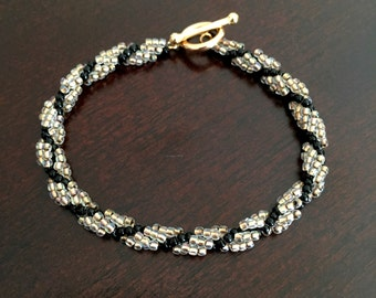 Gold-Lined with Black Spiral Bracelet