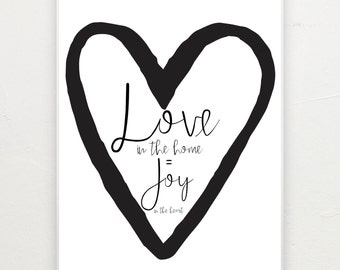 Love in the home equals joy in the heart. Print.