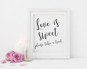 Love is sweet sign | Dessert table sign | Sign for wedding party favours | Candy buffet wedding sign | Wedding favour sign | Sweets sign S2