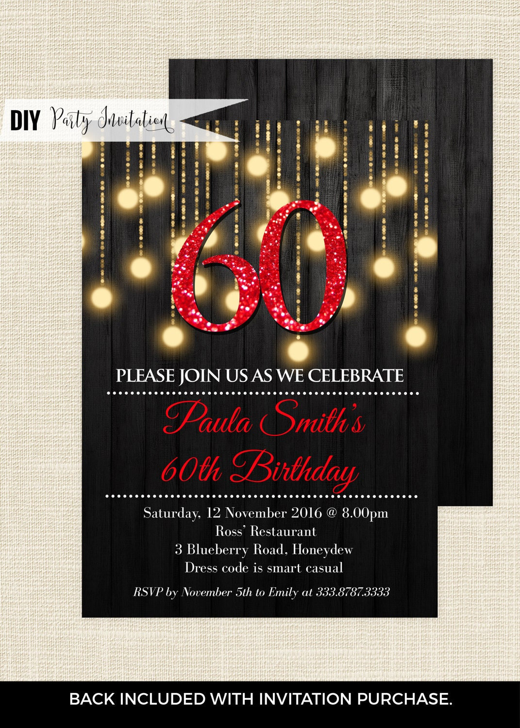 red 60th birthday invitations 60th birthday invitations for