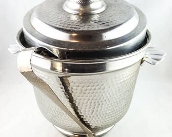 Mid Century Hammered Aluminum Ice Bucket with claw tongs