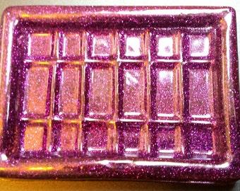 Soap dish purple sparkly glitter resin handmade unusual bathroom