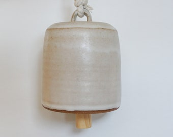 PREORDER Handmade Ceramic Bell, Matte White Ceramics, Pottery Bell, Rope Natural Wood, Modern Home Decor, Wall Art, Garden, Garden Decor