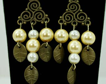 Antique Gold & Pearl Chandelier Earrings