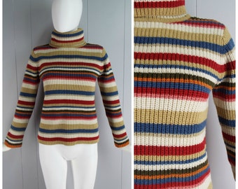 Vintage Womens Liz Claiborne Striped Turtleneck Sweater | Size S