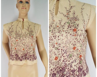 Vintage Womens 1970s Polkadot & Floral Print Micropleat Cap Sleeve Top | Size M