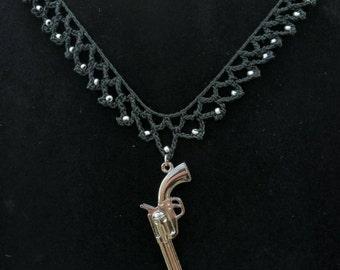 Silver Gun Necklace, Black Goth Choker, Revolver Necklace, Crochet Choker Glass Beads Silver Toggle Clasp, Handgun Necklace, Victorian Style