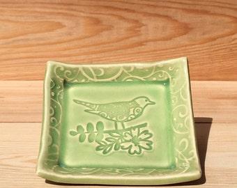 Ceramic Bird Dish, Bird Dish, Bird on Flower, Bird on Branch, Ceramic Dish