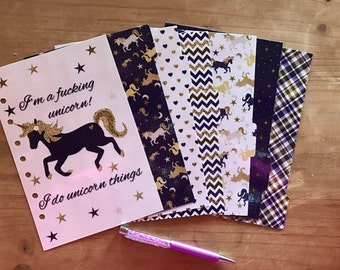 I'm a unicorn planner set. Comes with dashboard, 6 tab dividers and a pagemarker. Planner accessories, decorations , supplies.