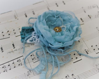Fabric Flower Wrist Corsage, Something Blue, Vintage Wedding, Blue Flower, Handmade Flowers, Ball, Special Occasion, Gift for her, Bride