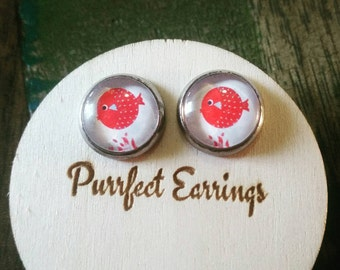 Glass red fish earrings