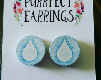 Handmade wooden blue and white rain drop stud earrings 16mm