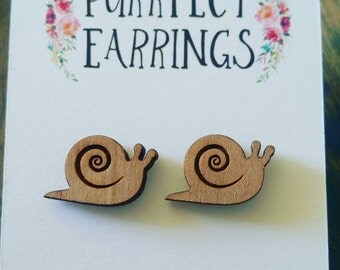 Handmade laser cut bamboo snail stud earrings