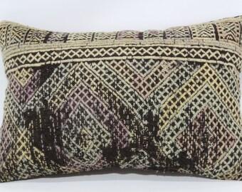 Embroidered Kilim Pillow Throw Pillow Sofa Pillow Ethnic Pillow 16x24 Decorative Kilim Pillow Home Decor Cushion Cover SP4060-322