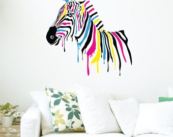 Rainbow Zebra Wall Decal