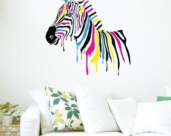 Rainbow Zebra Wall Decal