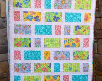 Baby Girl Quilt, Crib Quilt, Pink Quilt, Purple Quilt, Aqua Quilt, Nursery Decor, Baby Blanket, Modern Baby Quilt