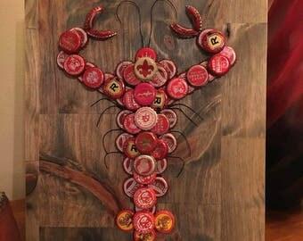 Made to Order Bottle Cap Crawfish Wall Hanging // Customizable