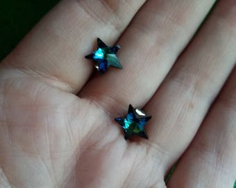 Vintage Swarovski crystal blue star earrings great condition, real sparklers