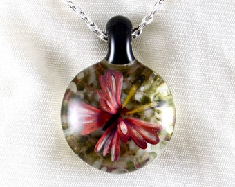 Hand Blown Solid Glass Compression Pendant Necklace in Rust Red Butterfly