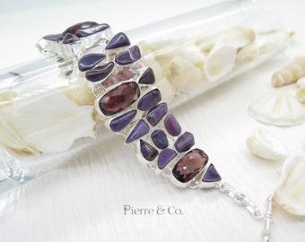 Sugilite and Kunzite Sterling Silver Bracelet